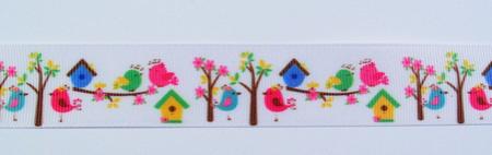 Ripsband Vögel weiß Breite: 2,5cm