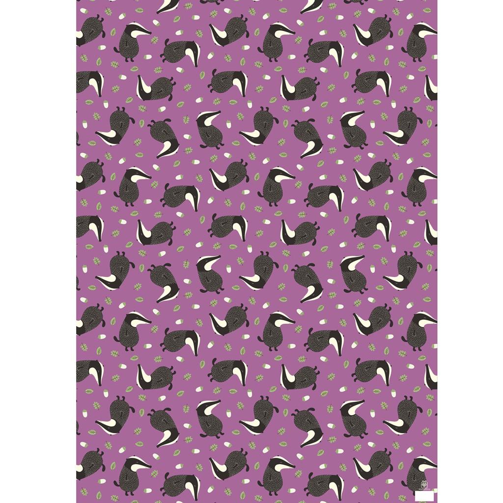 Geschenkpapier Bogen Dachs lila 50x70cm Papier