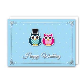 Glückwunschkarte Eule Happy Wedding Aufklappbar mit Umschlag 11,5x16,5cm