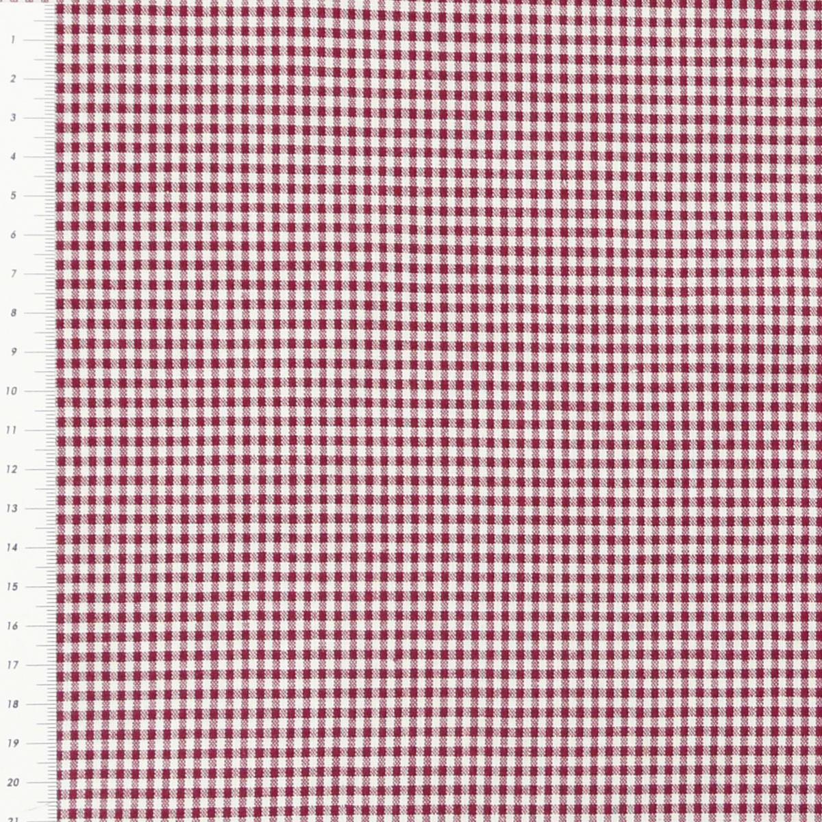 Baumwollstoff kariert weiß dunkelrot 2mm