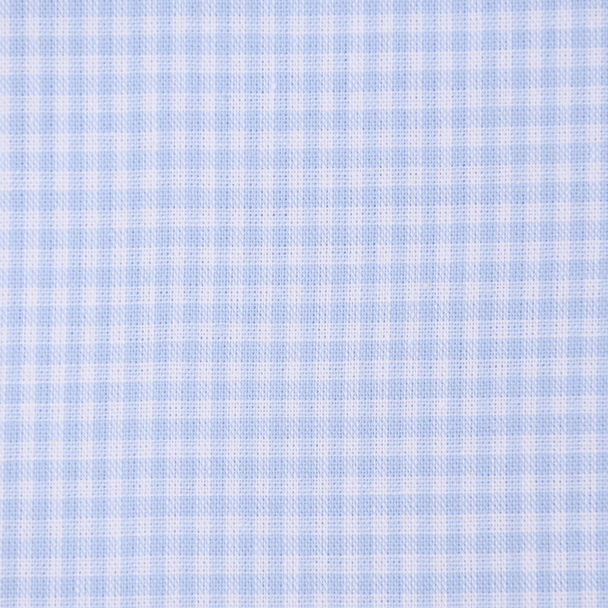 Baumwollstoff kariert weiß hellblau 2mm