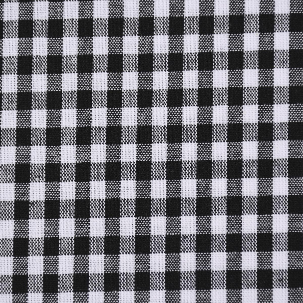 Baumwollstoff kariert weiß schwarz 5mm 1,4m Breite