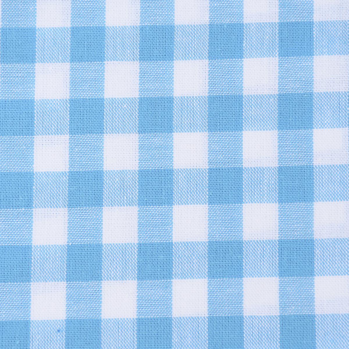 Baumwollstoff kariert weiß türkis 9mm 1,4m Breite