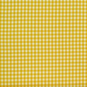 Baumwollstoff kariert weiß gelb 9mm