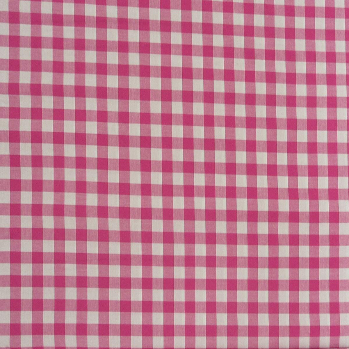 Baumwollstoff kariert weiß pink 16mm