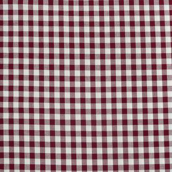 Baumwollstoff kariert weiß dunkelrot 16mm – Bild 1