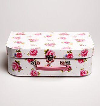 Picknickset Koffer Nostalgie Rosen weiß 15teilig – Bild 2