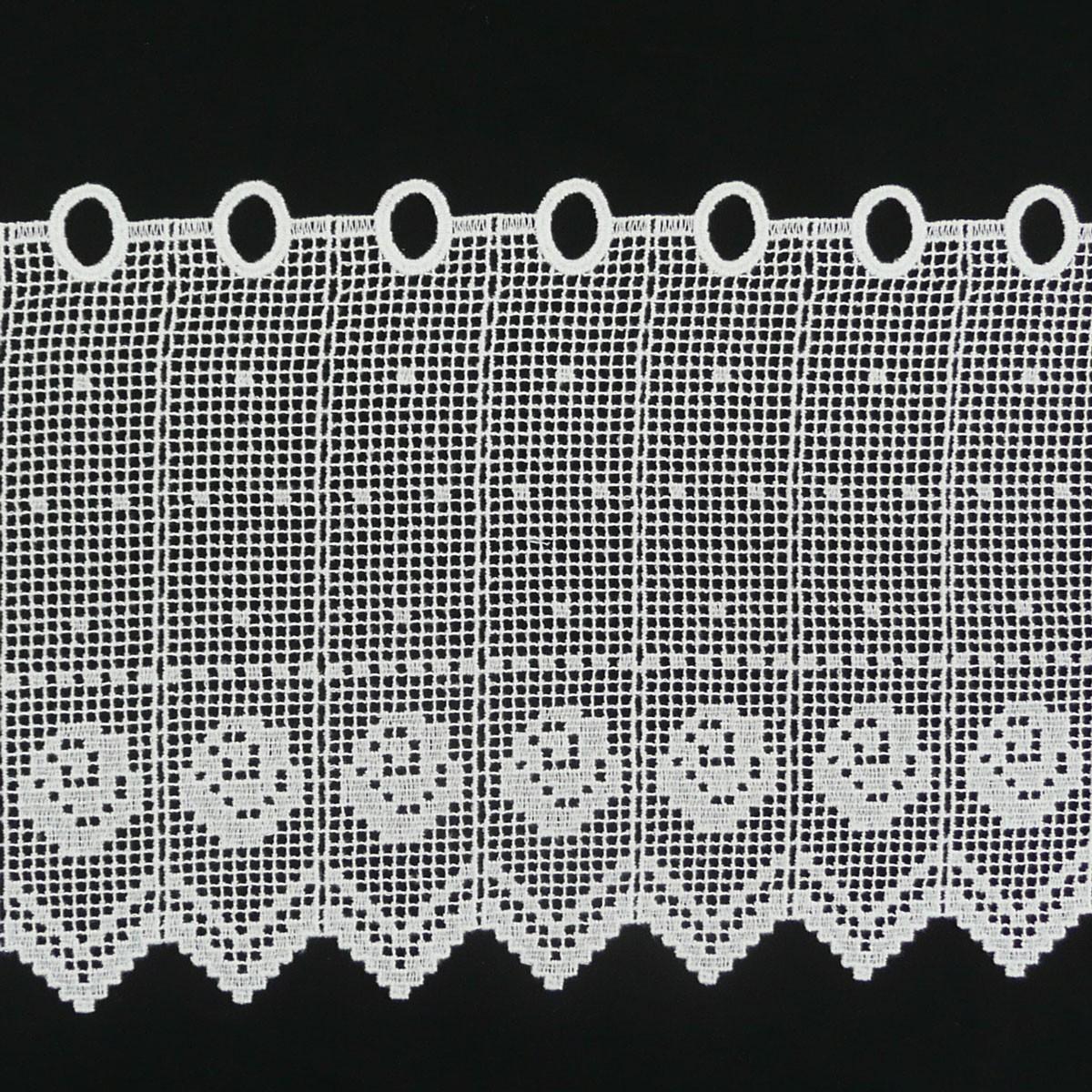 Häkelgardine Bistrogardine Scheibengardine Stickerei weiß Blume Meterware 27cm Höhe