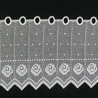 Bistrogardine Scheibengardine Stickerei weiß Blume Meterware 27cm Höhe