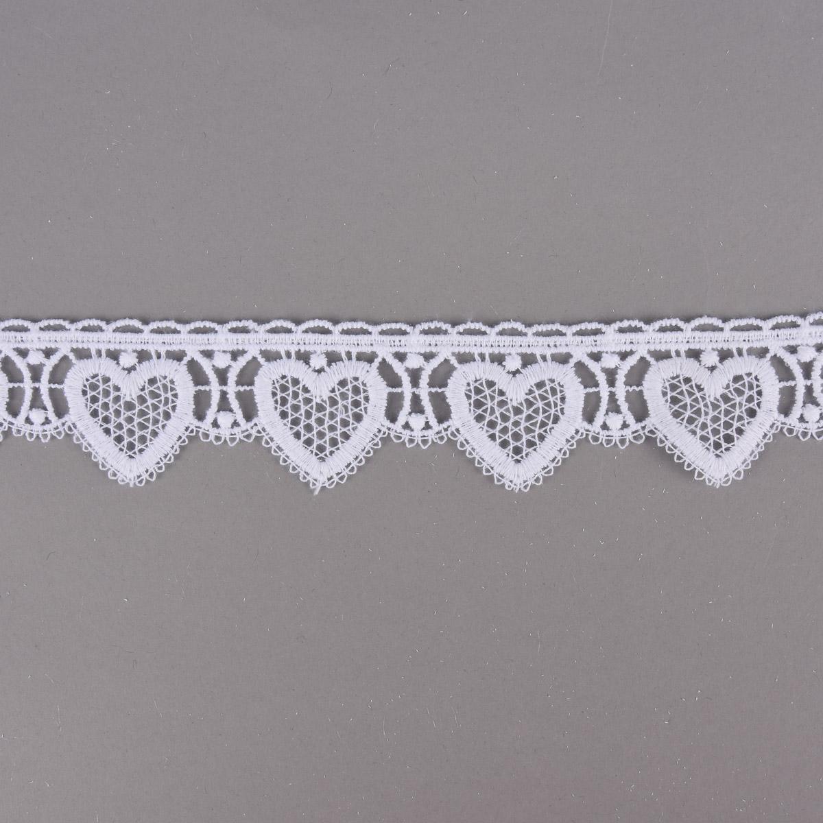 Herzchen-Borte Spitzenborte Häkelborte weiß Herz Meterware ca. 4,5cm breit