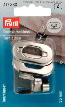 Prym Drehverschluss für Taschen silber 3,5x2cm