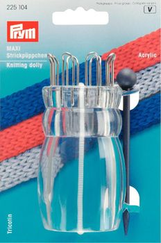 Prym Strickpüppchen Acryl transparent MAXI mit Nadel 9,5x4,5cm