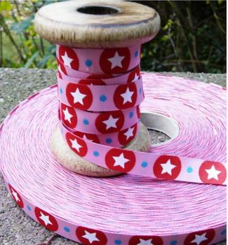 Farbenmix Webband Stardotzz rosa Breite: 1,2cm
