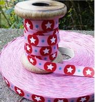 Farbenmix Webband Stardotzz rosa Breite: 1,2cm 001