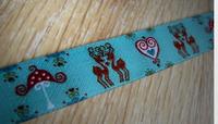 Farbenmix Webband Reh Bambi Spiegelwald Hirsche Breite: 1,5cm