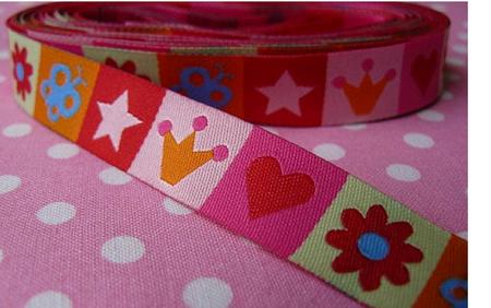 Farbenmix Webband Mixband rosa bunt Breite: 1,5cm