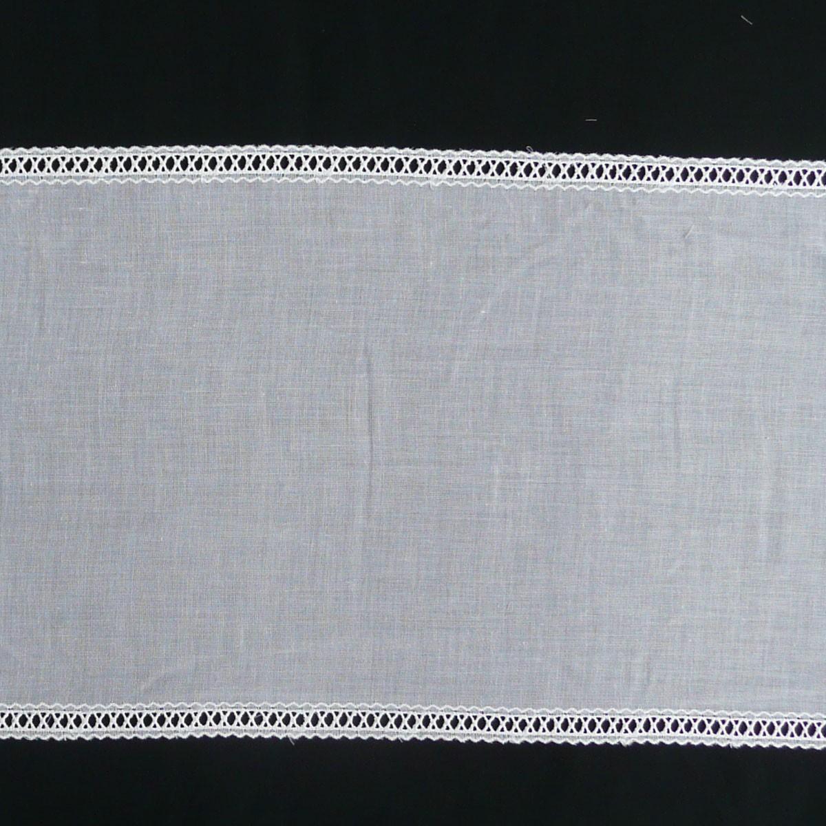 Gardinenstoff Flächenpaneele Tischband weiß mit Stickerei Breite: 28cm