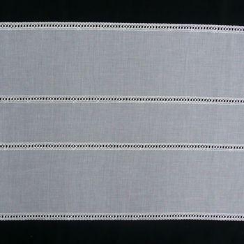 Gardinenstoff Flächenpaneele Tischband weiß mit Stickerei Breite: 47cm