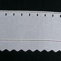 Bistrogardine Scheibengardine Meterware weiß mit Stickerei Höhe:27cm