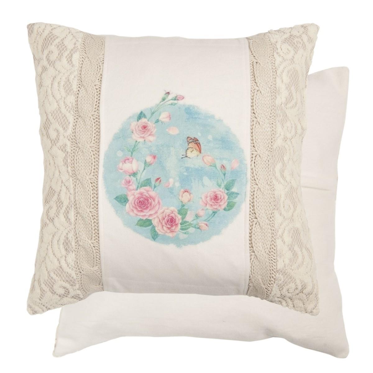 clayre eef kissenh lle strick filz kissen rose schmetterling 45x45cm wohntextilien kissen. Black Bedroom Furniture Sets. Home Design Ideas