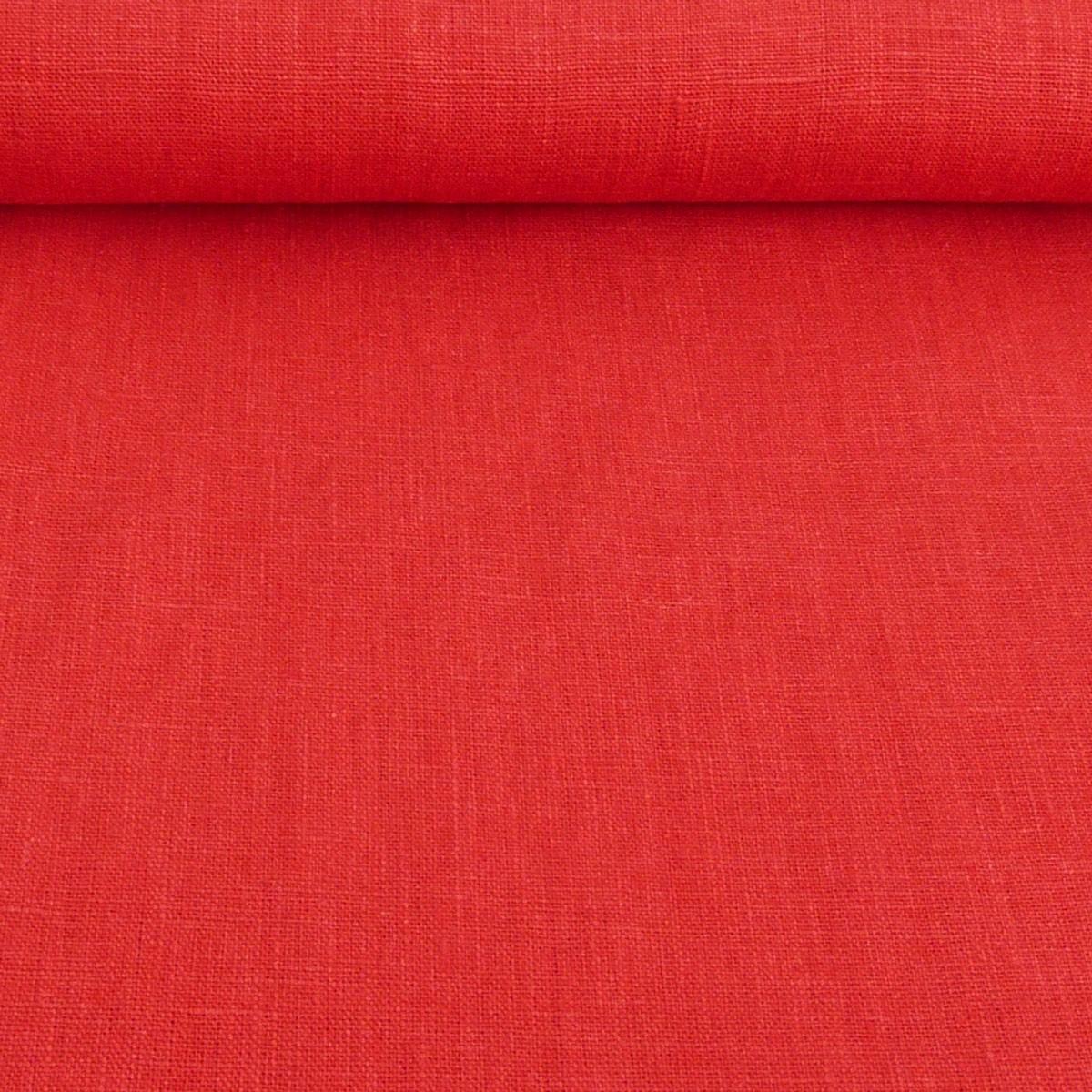 Bekleidungsstoff Leinen 255g/m² einfarbig rot