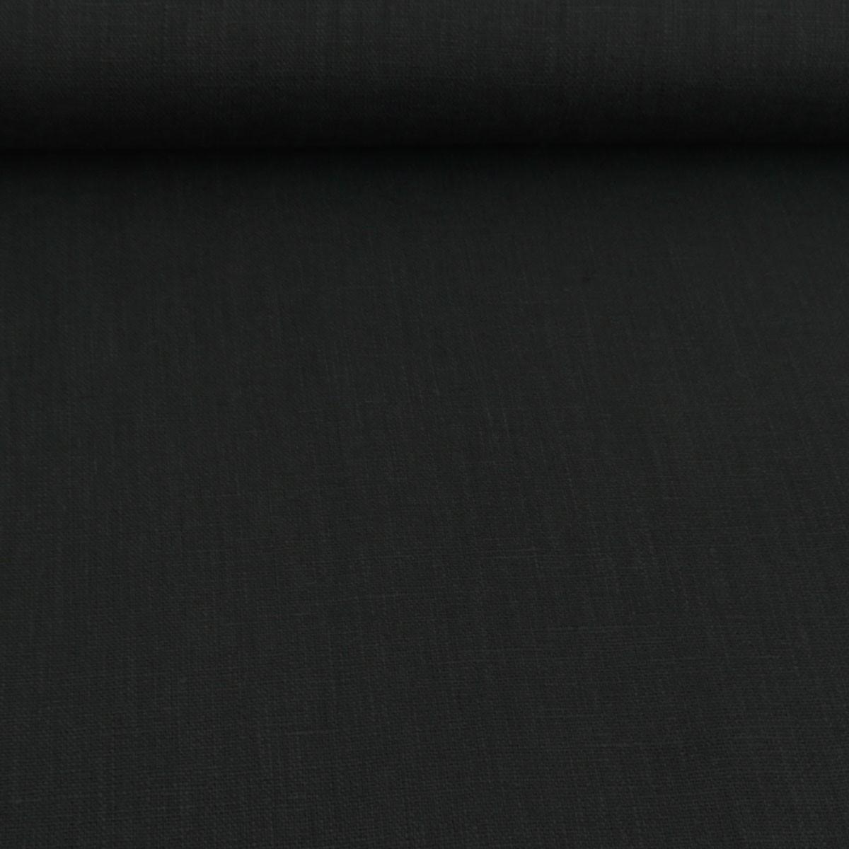 Bekleidungsstoff Leinen 255g/m² einfarbig schwarz