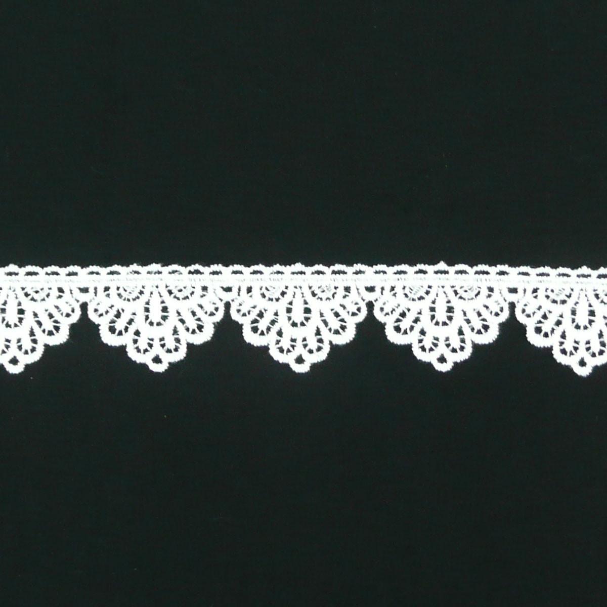 Borte Spitzenborte Häkelborte Wellen weiß 4cm Höhe