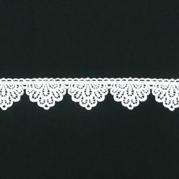 Borte Spitzenborte weiß Wellen Blume Meterware 4cm