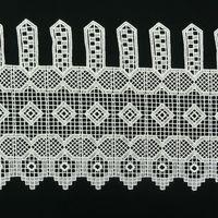 Bistrogardine Scheibengardine Stickerei Muster eckig Meterware creme H:25cm 001