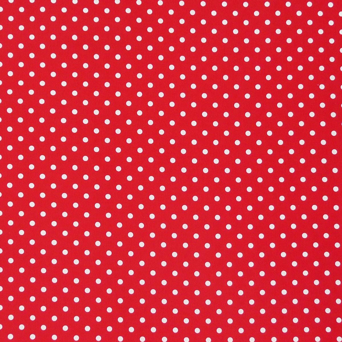 Baumwollstoff Punkte groß Ø 7mm rot weiß