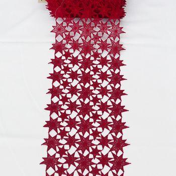 Borte Spitzenborte Tischläufer Sterne rot Meterware Breite 25cm