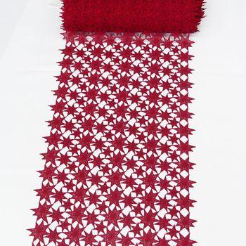 Borte Spitzenborte Tischläufer Sterne rot Meterware Breite 40cm