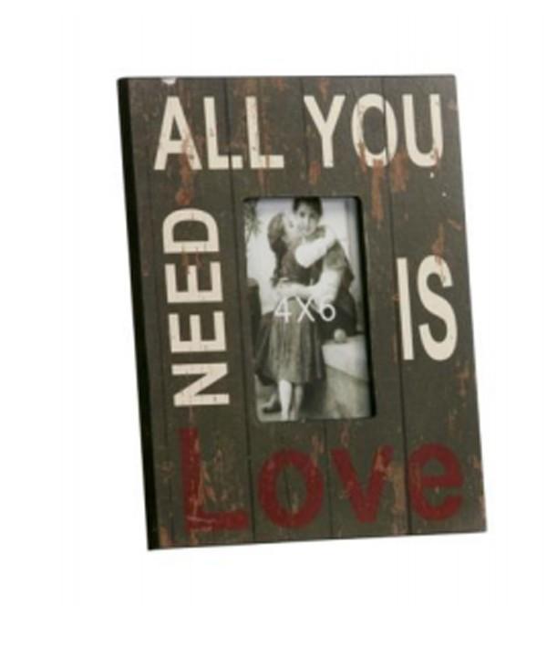"Fotorahmen Bilderrahmen Holz ""All you need is love"" 23x28cm"