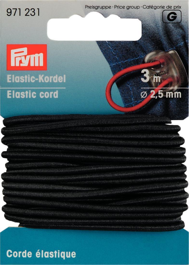 Prym Elastic Kordel Band Gummiband 2,5 mm schwarz 3m