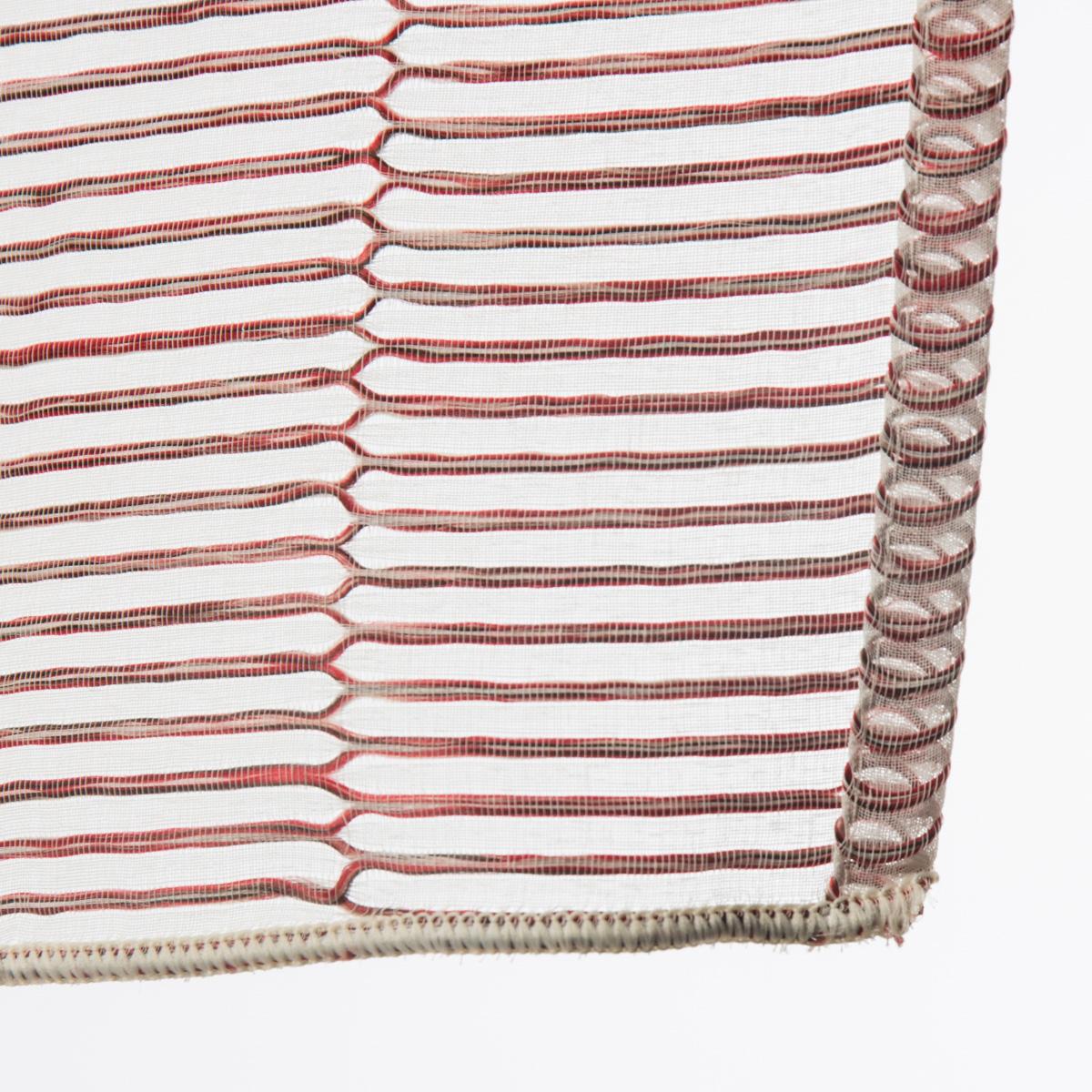 fertiggardine fertigvorhang senschal mit metall sen enge streifen rot 145x245cm fertiggardinen. Black Bedroom Furniture Sets. Home Design Ideas