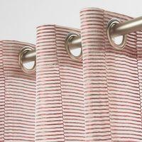 Fertiggardine Fertigvorhang Ösenschal mit Metallösen enge Streifen rot 145x245cm 001