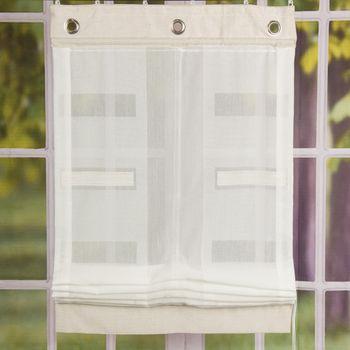 Raffrollo Zugrollo Stoffrollo Stickerei Rechtecke weiß 80x150cm