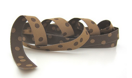 Farbenmix Webband Punkte hellbraun dunkelbraun Breite: 1,2cm