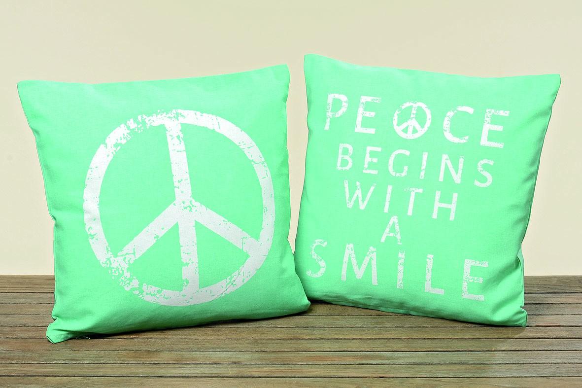 Kissenhülle Peace türkis Baumwolle mit Reisverschluss 40x40cm