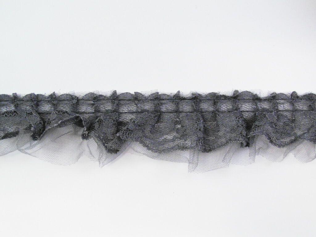 Spitzenband mit Tüll Breite: 3,5cm dunkelgrau