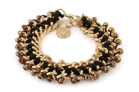 Lizas Armband Glitzerperlen braun, goldenes Gliederarmband Ø:7,5cm
