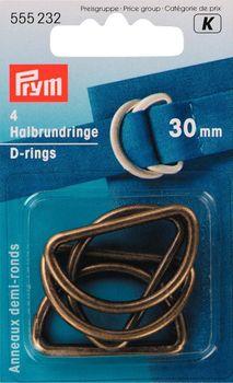 Prym Halbrundringe D-Ringe 30mm altmessing 4 Stück