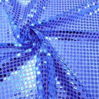 Kreativstoff Pailletten Lurex Stoff blau 6mmØ 1,1m Breite