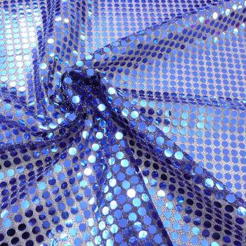 Kreativstoff Pailletten Lurex Stoff blau schwarz 6mmØ 1,1m Breite