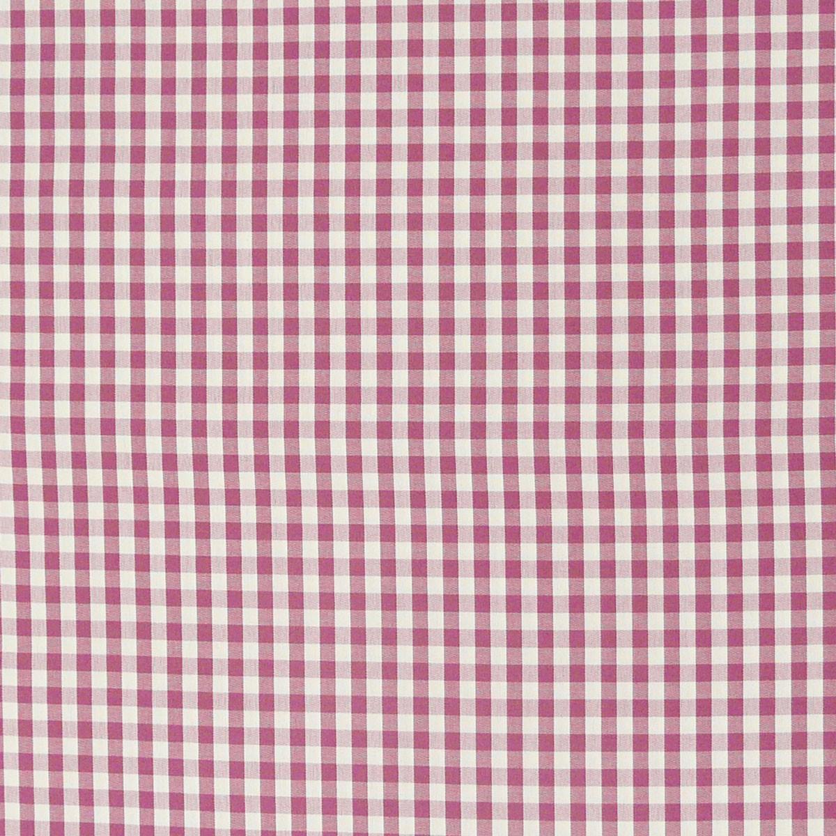 Gardinenstoff Stoff Dekostoff Meterware kariert rosa beere weiß Karo1cm