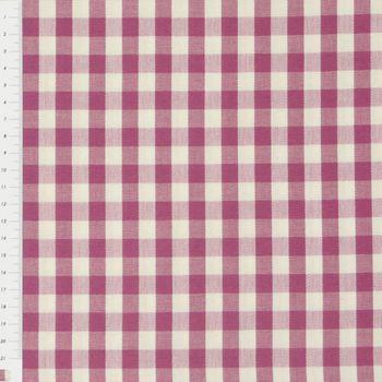 Gardinenstoff Stoff Dekostoff Meterware kariert rosa beere weiß Karo1cm  – Bild 2