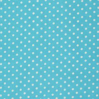 Baumwollstoff Punkte groß Ø 7mm türkis weiß