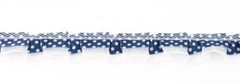 Satinband mit Organza und Punkten dunkelblau 1,9cm