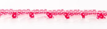 Satinband mit Organza und Punkten pink 1,9cm