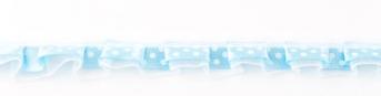 Satinband mit Organza und Punkten hellblau 1,9cm